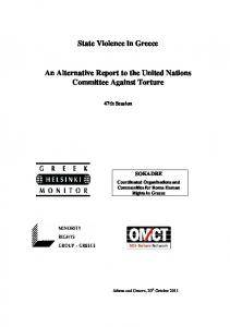 State Violence in Greece. An Alternative Report to the United Nations Committee Against Torture