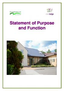 Statement of Purpose and Function