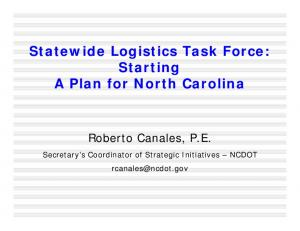 Statewide Logistics Task Force: Starting A Plan for North Carolina