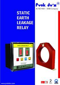 STATIC EARTH LEAKAGE RELAY