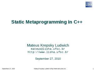 Static Metaprogramming in C++