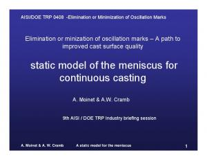 static model of the meniscus for continuous casting
