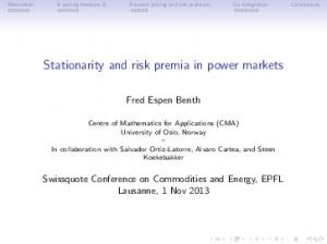 Stationarity and risk premia in power markets