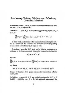 Stationary Points; Minima and Maxima; Gradient Method