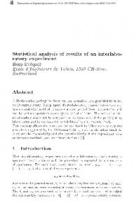 Statistical analysis of results of an interlaboratory