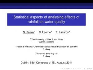Statistical aspects of analysing effects of rainfall on water quality