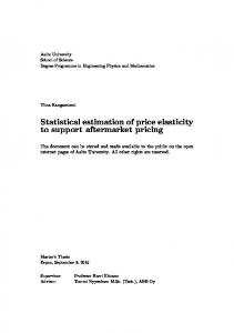 Statistical estimation of price elasticity to support aftermarket pricing