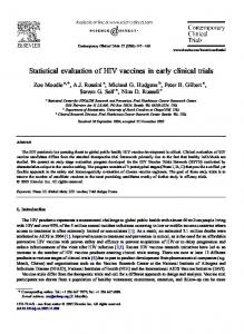 Statistical evaluation of HIV vaccines in early clinical trials