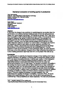 Statistical evaluation of welding quality in production