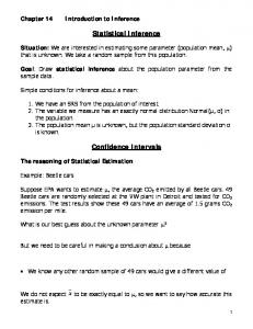 Statistical Inference. Confidence Intervals