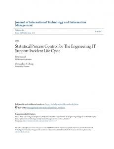 Statistical Process Control for The Engineering IT Support Incident Life Cycle