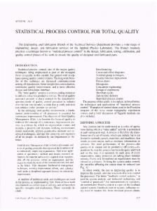STATISTICAL PROCESS CONTROL FOR TOTAL QUALITY