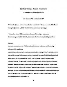 Statistical Tests and Research Assessments: A comment on Schneider (2012)