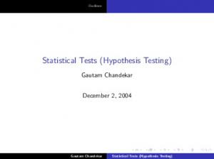Statistical Tests (Hypothesis Testing)