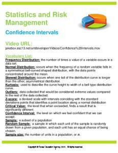Statistics and Risk Management