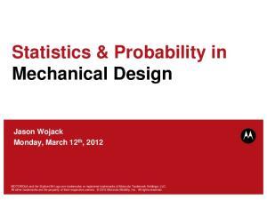 Statistics & Probability in Mechanical Design