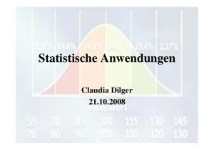 Statistische Anwendungen. Claudia Dilger