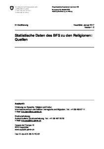 Statistische Daten des BFS zu den Religionen: Quellen