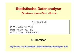 Statistische Datenanalyse