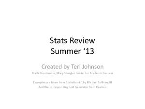 Stats Review Summer 13
