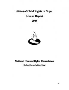 Status of Child Rights in Nepal Annual Report 2008