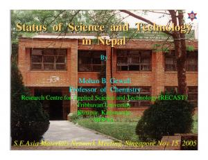 Status of Science and Technology in Nepal