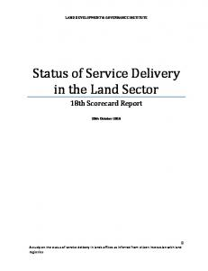 Status of Service Delivery in the Land Sector