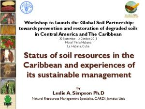 Status of soil resources in the Caribbean and experiences of its sustainable management