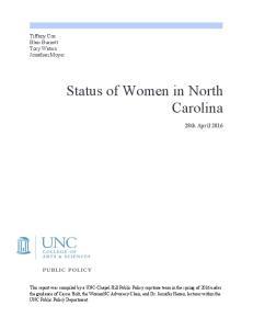 Status of Women in North Carolina