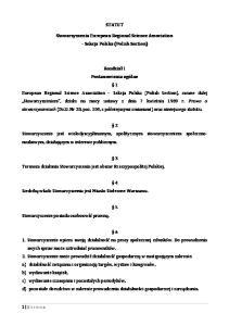 STATUT. Stowarzyszenia European Regional Science Association Sekcja Polska (Polish Section)