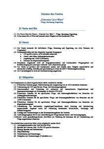 Statuten des Vereins. Diversity Care Wien Pflege, Betreuung, Begleitung
