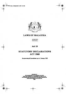 STATUTORY DECLARATIONS ACT 1960