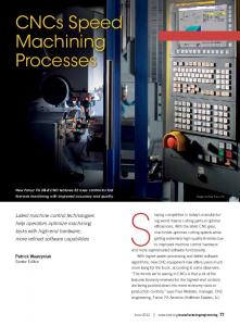 Staying competitive in today s manufacturing. CNCs Speed Machining Processes
