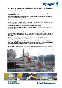 STCW95 Superyacht Deck Crew Training weeks UK