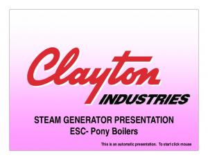 STEAM GENERATOR PRESENTATION. This is an automatic presentation. To start click mouse