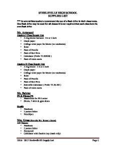STEELEVILLE HIGH SCHOOL SUPPLIES LIST