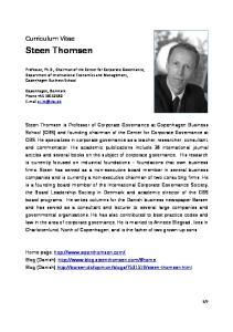 Steen Thomsen. Curriculum Vitae