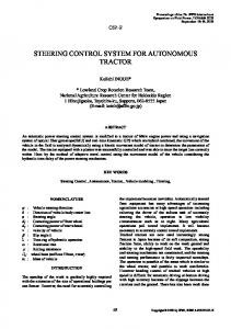 STEERING CONTROL SYSTEM FOR AUTONOMOUS TRACTOR
