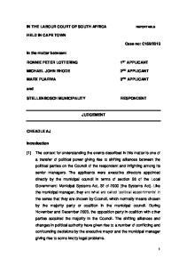 STELLENBOSCH MUNICIPALITY JUDGEMENT