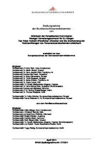 Stellungnahme der Bundesrechtsanwaltskammer zum