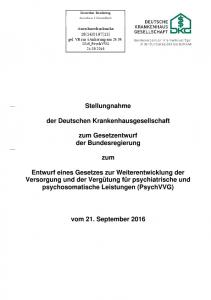 Stellungnahme. der Deutschen Krankenhausgesellschaft. zum Gesetzentwurf der Bundesregierung. zum