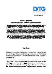 Stellungnahme der Deutschen Steuer-Gewerkschaft