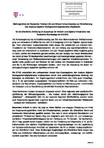 Stellungnahme der Deutschen Telekom AG zum Entwurf eines Gesetzes zur Erleichterung des Ausbaus digitaler Hochgeschwindigkeitsnetze (DigiNetzG)
