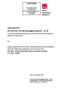 Stellungnahme der Vereinten Dienstleistungsgewerkschaft ver.di