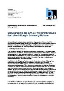 Stellungnahme des BAK zur Weiterentwicklung der Lehrerbildung in Schleswig-Holstein