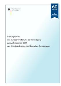 Stellungnahme des Bundesministeriums der Verteidigung zum Jahresbericht 2014 des Wehrbeauftragten des Deutschen Bundestages