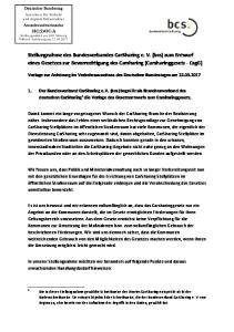 Stellungnahme des Bundesverbandes CarSharing e. V. (bcs) zum Entwurf eines Gesetzes zur Bevorrechtigung des Carsharing (Carsharinggesetz CsgG)