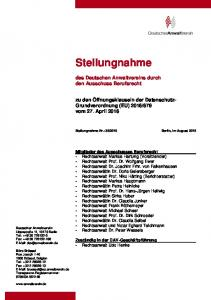 Stellungnahme. des Deutschen Anwaltvereins durch den Ausschuss Berufsrecht