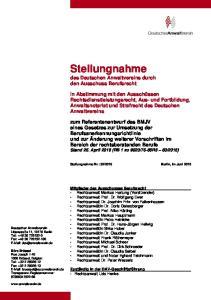 Stellungnahme des Deutschen Anwaltvereins durch den Ausschuss Berufsrecht