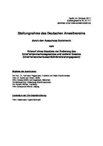 Stellungnahme des Deutschen Anwaltvereins